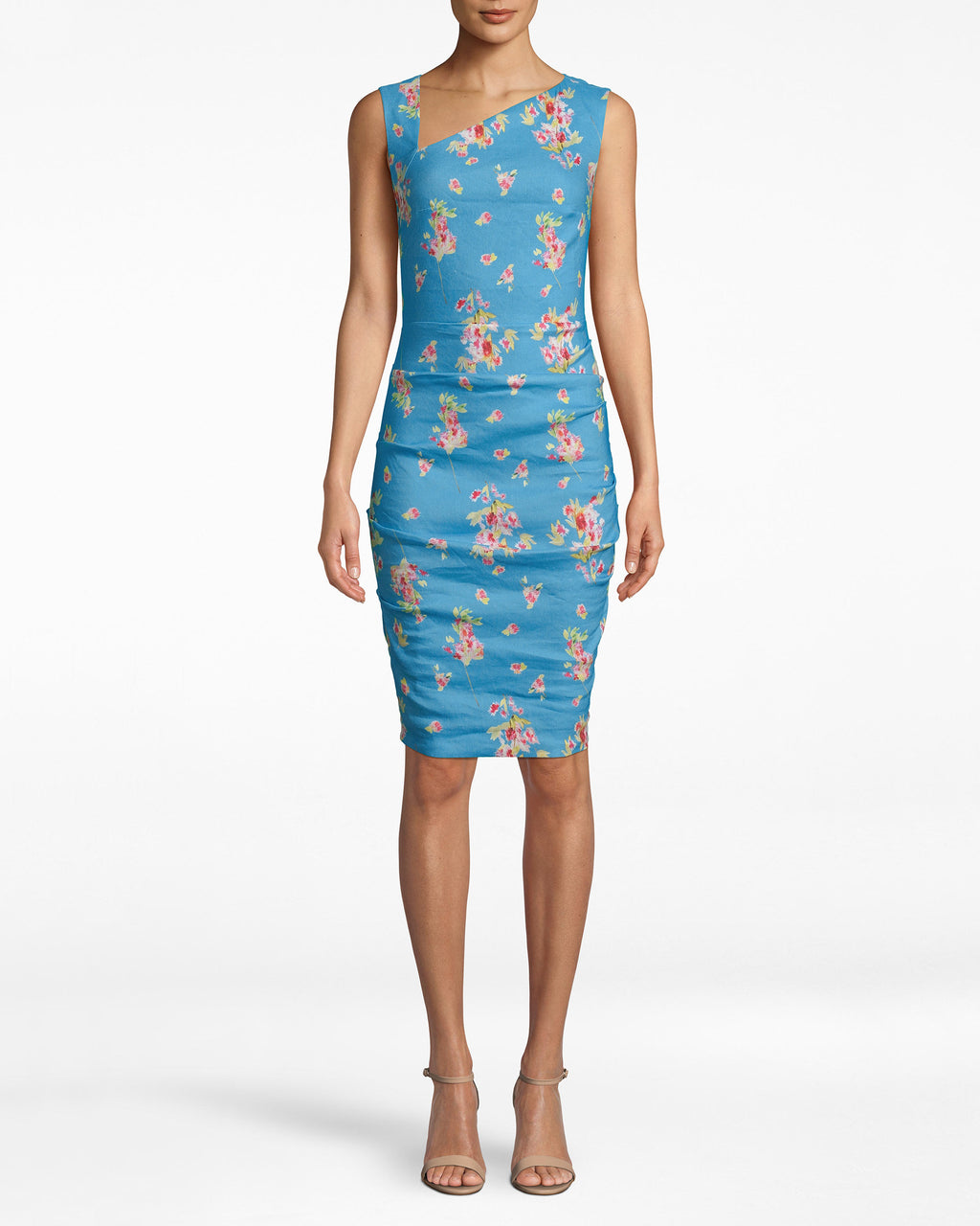 BM20107 - BAHAMA BLUE ASYMMERTICAL TUCK DRESS - dresses - short - MAKE A STATEMENT IN THIS BRIGHT BLUE ASYMMETRICAL TUCK DRESS. FEATURING A FUN FLORAL PATTERN AND SHARP NECKLINE, THIS DRESS IS SURE TO BE A SHOW STOPPER. GATHERING IN THE FRONT AND RUCHING DOWN THE BACK FOR A SLIMMING FIT.