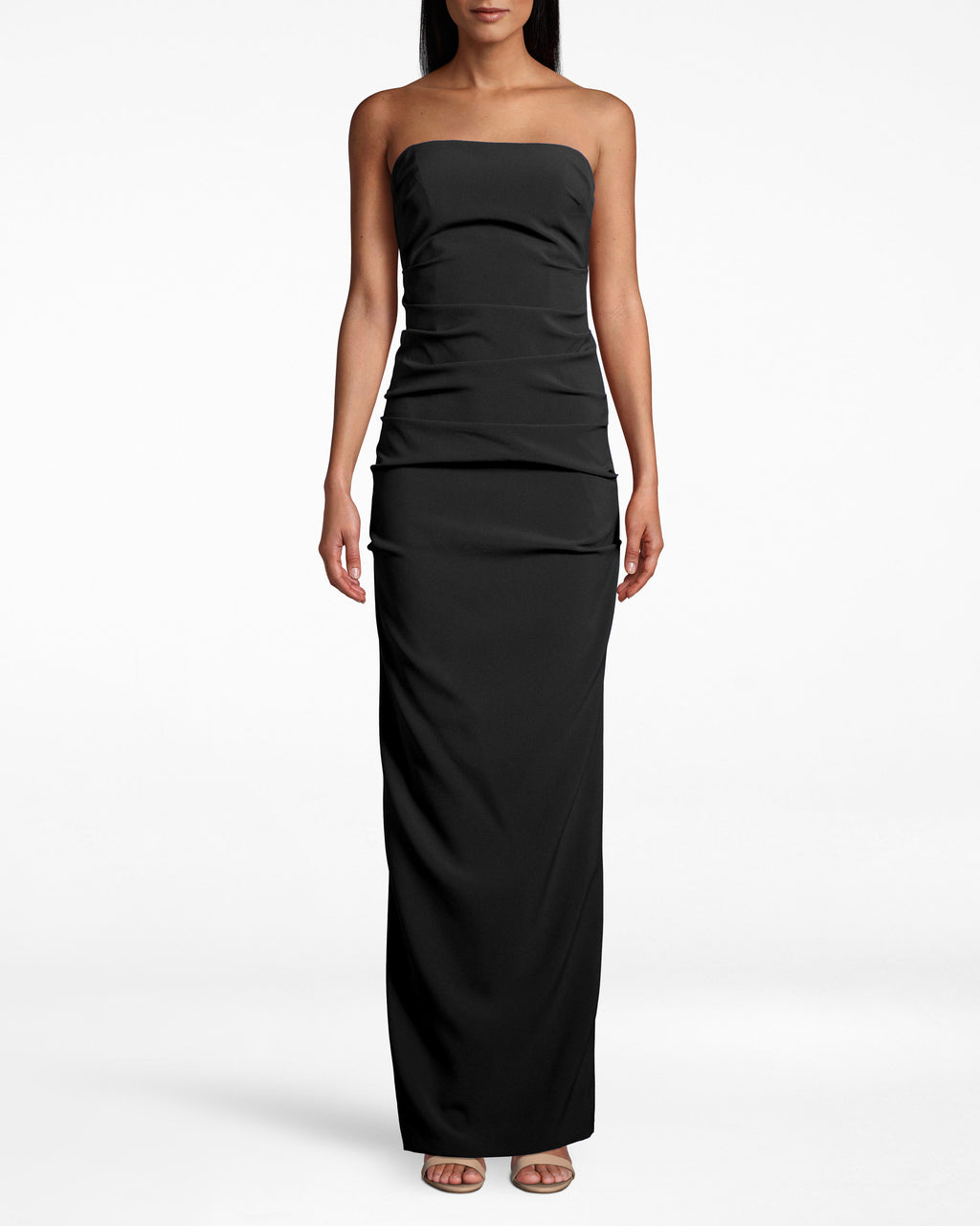 BN10038 - TECHY CREPE TUCK STRAPLESS GOWN - dresses - long - Take this strapless gown out tonight. The fabric gathers around the upper body, while the silhouette molds to your shape. Back zipper for closure.