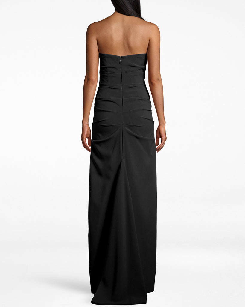 BN10038 - TECHY CREPE TUCK STRAPLESS GOWN - dresses - long - Take this strapless gown out tonight. The fabric gathers around the upper body, while the silhouette molds to your shape. Back zipper for closure. Alternate View