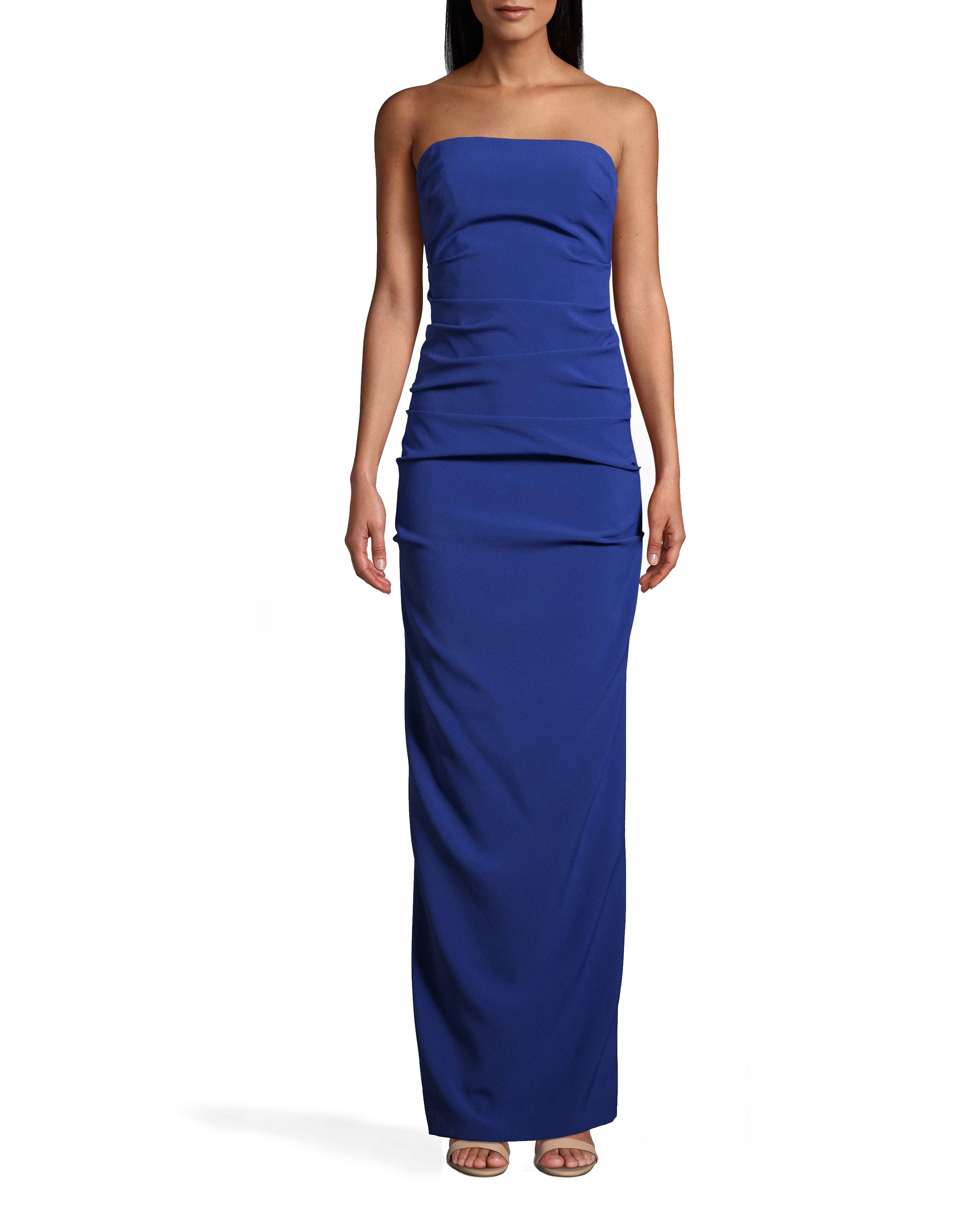 nicole miller techy crepe tuck strapless gown in blue | polyester/elastane | size 2