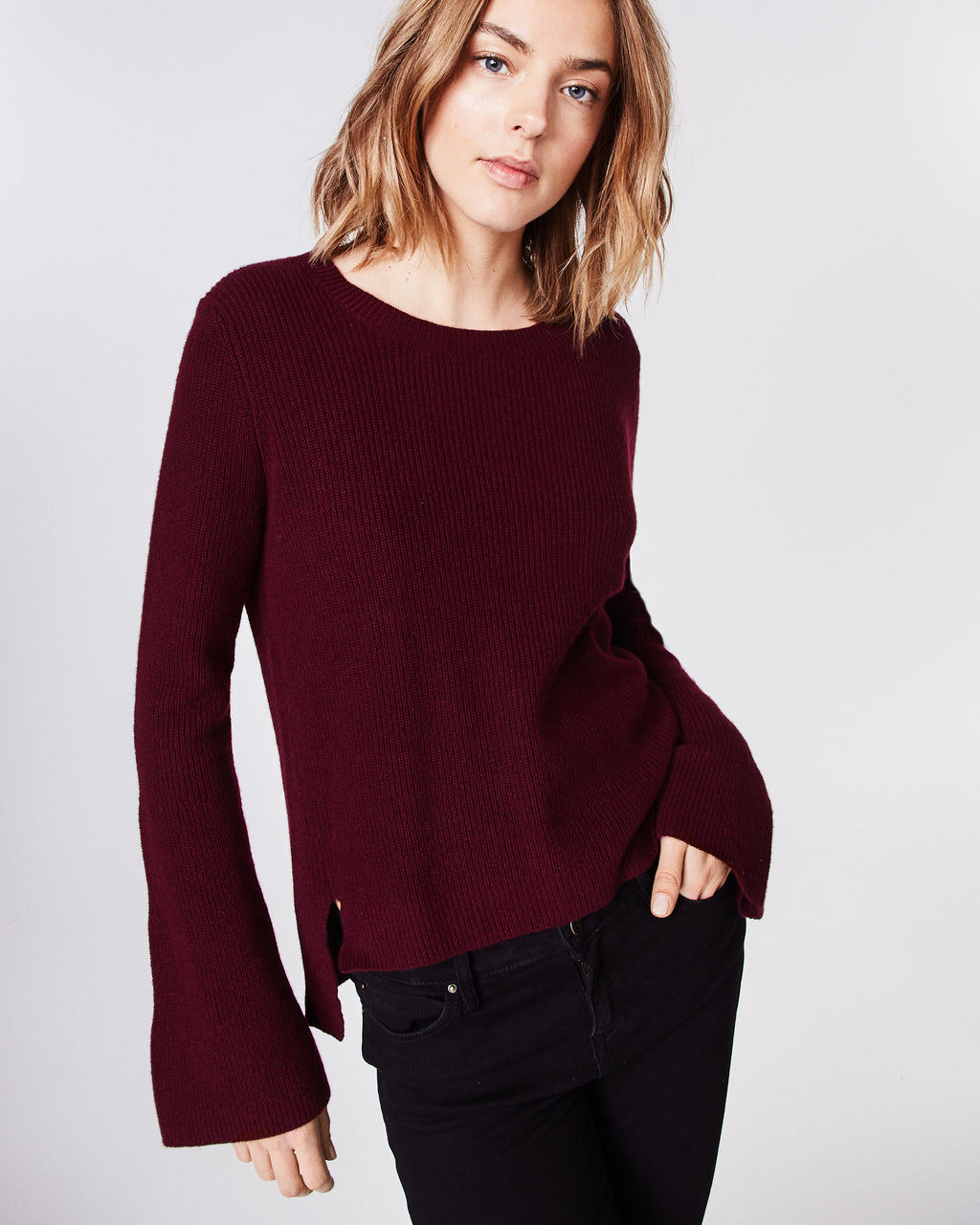 BN10094 - CASHMERE BELL SLEEVE SWEATER - tops - knitwear - This cashmere sweater features a rounded neckine and statement bell sleeves. Unlined.