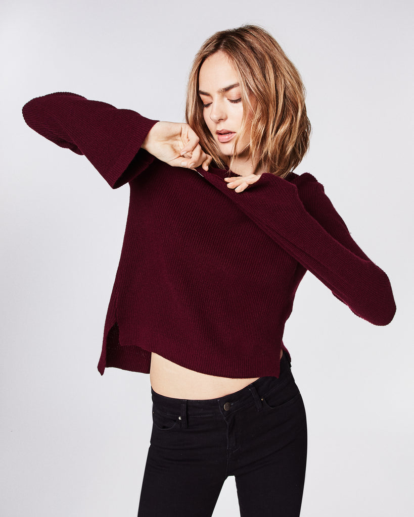 BN10094 - CASHMERE BELL SLEEVE SWEATER - tops - knitwear - This cashmere sweater features a rounded neckine and statement bell sleeves. Unlined. Alternate View