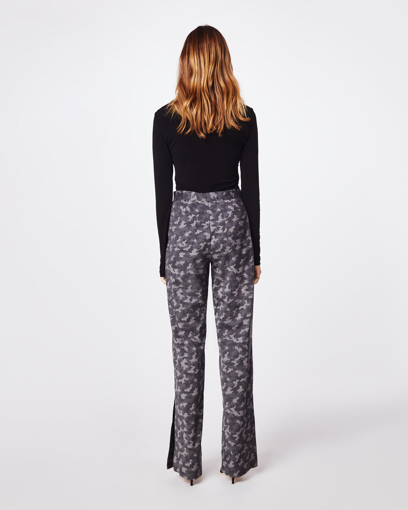 BN10171 - CAMO HIGH WAISTED PANT - bottoms - pants - In a dark grey camo, these high waisted pants havea straight leg fit, concealed zipper and clasp forclosure. Pair with the Boyfriend Camo Blazer for amodern take on the classic suit. Unlined. Alternate View