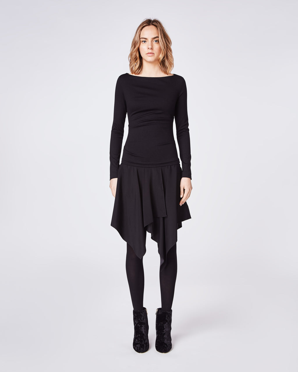 BN10174 - PONTE SWEATSHIRT DRESS - dresses - short - The cozy, wear to work mixed material fitted dress. It features a drop waist and assymetrical ruffled hem. Pair back with tights and classic boot for fall into winter.