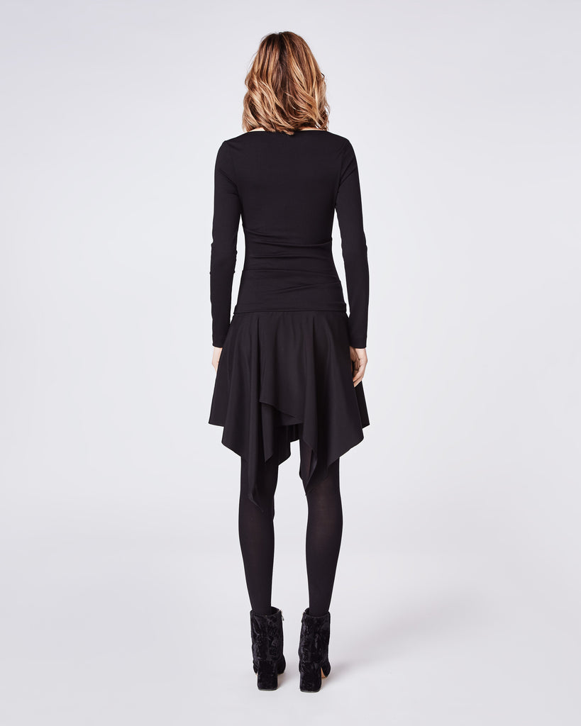 BN10174 - PONTE SWEATSHIRT DRESS - dresses - short - The cozy, wear to work mixed material fitted dress. It features a drop waist and assymetrical ruffled hem. Pair back with tights and classic boot for fall into winter. Alternate View