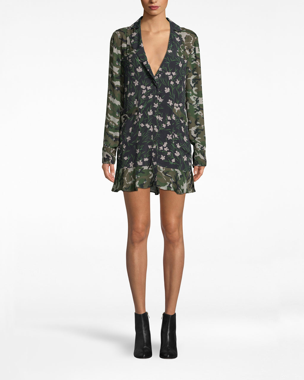 BN10179 - TULIP CAMOUFLAGE BLAZER DRESS - dresses - short - Better together than apart. This blazer dress, boasting our new Tulip camo print, infuses tomboy into feminine. Featuring a deep v-neck and ruffled hem.