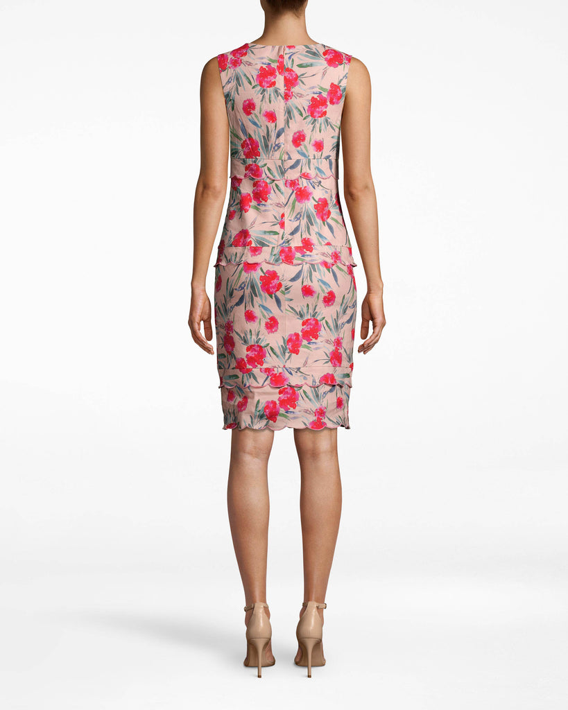 BN10186 - SPRING GARDEN SCALLOP SHEATH DRESS - dresses - short - THIS LINEN BLEND DRESS IS DESIGNED IN A FLATTERING SILHOUETTE WITH A HIGH NECK AND TIERED SCALLOP DETAILS ALONG THE BODICE. THIS SLEEVELESS STYLE HITS JUST ABOVE THE KNEE AND HAS A CONCEALED BACK ZIPPER FOR CLOSURE. Alternate View
