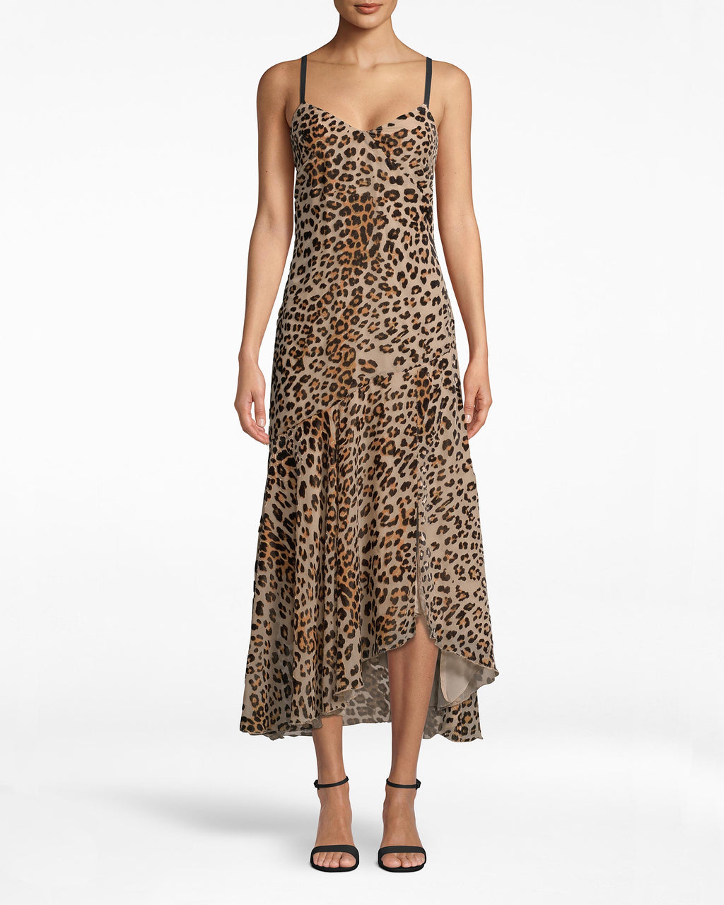 BN20057 - LEOPARD BURNOUT SLIP DRESS - dresses - midi - Black straps structure the leopard body of this party slip dress. Skirt pleats lead to the asymmetrical hem and hints of the slip. Pair back with high ankle heels. Exposed back zipper for closure.