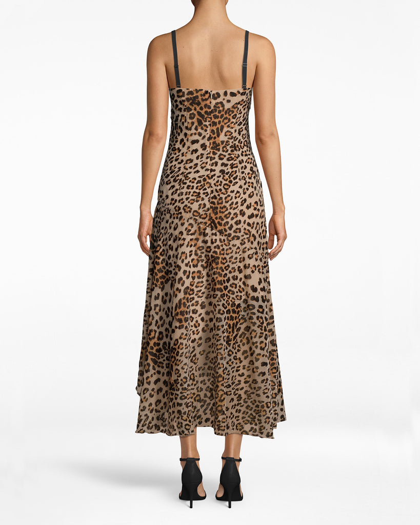 BN20057 - LEOPARD BURNOUT SLIP DRESS - dresses - midi - Black straps structure the leopard body of this party slip dress. Skirt pleats lead to the asymmetrical hem and hints of the slip. Pair back with high ankle heels. Exposed back zipper for closure. Alternate View