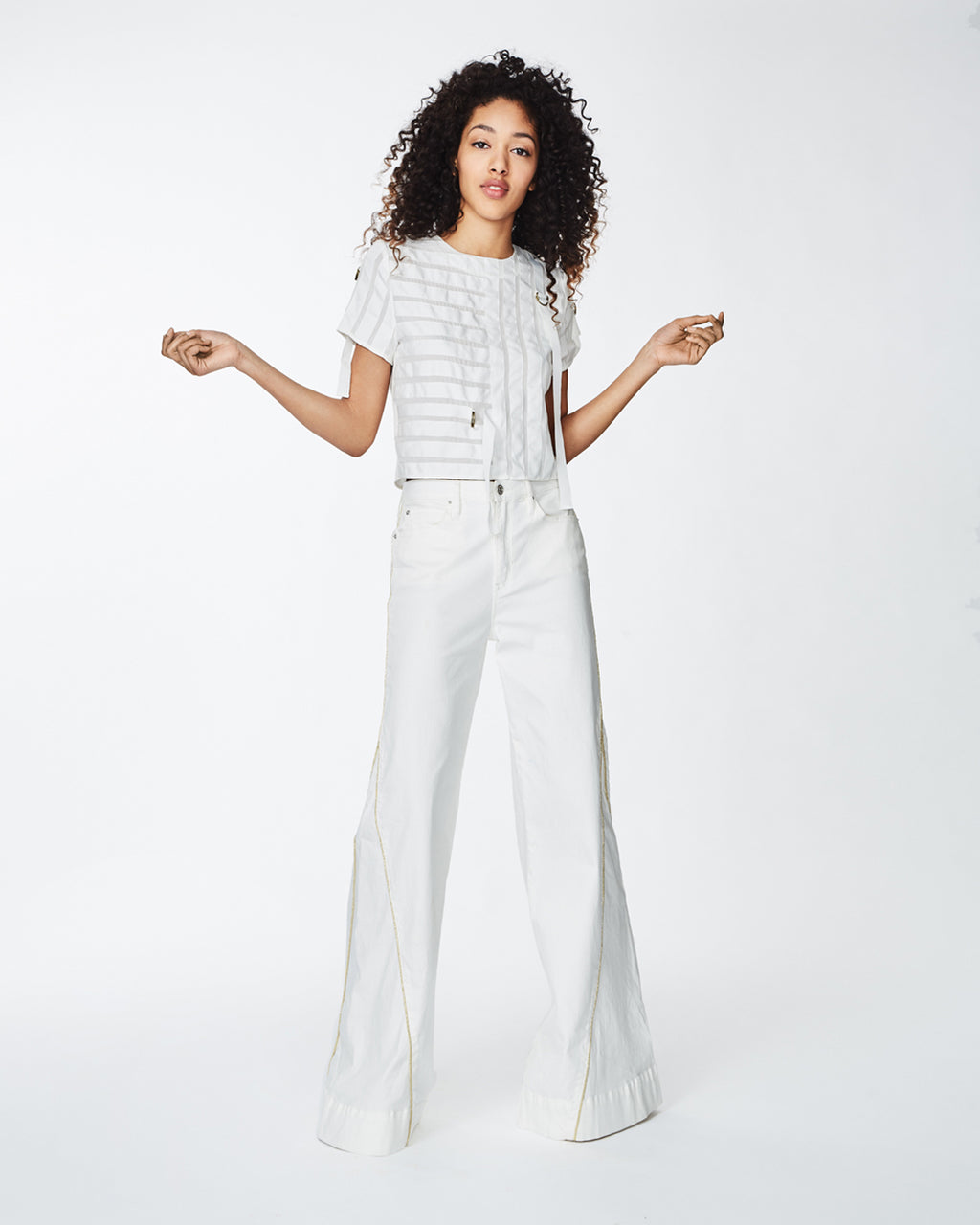 BO10137 - GROSGRAIN blouse - tops - blouses - Grosgrain strips contrast with the white silk for a trendy cropped blouse. This lightweight top is completed with belted details and a concealed zipper for closure. Final Sale