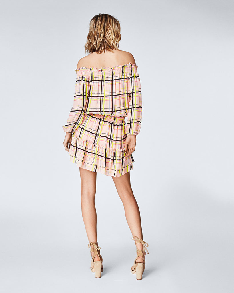 BO10143 - ELECTRIC PLAID SMOCKED DRESS - dresses - short - A little flounce for your step. This light silk, off-the-shoulder dress features a smocked silhouette and ruffled hem. The vibrance of the plaid print adds a little more pizzazz. Final Sale Alternate View