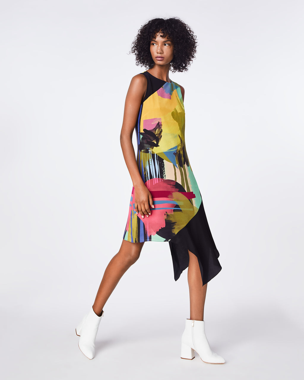 BO10160 - ABSTRACT PAINT ASYMMETRICAL DRESS - dresses - midi - A bold, floral print is balanced by an easy shift silhouette on this asymmetrical silk blend dress. Pair it with pumps or boots for the ultimate statement.
