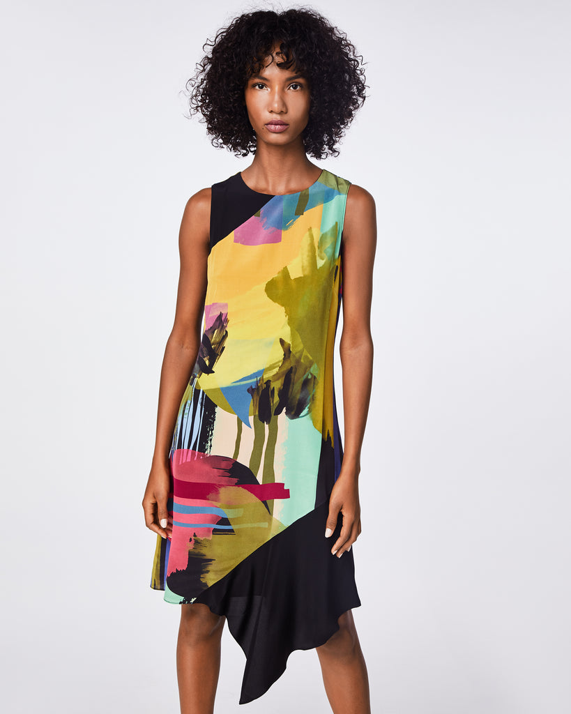 BO10160 - ABSTRACT PAINT ASYMMETRICAL DRESS - dresses - midi - A bold, floral print is balanced by an easy shift silhouette on this asymmetrical silk blend dress. Pair it with pumps or boots for the ultimate statement. Alternate View