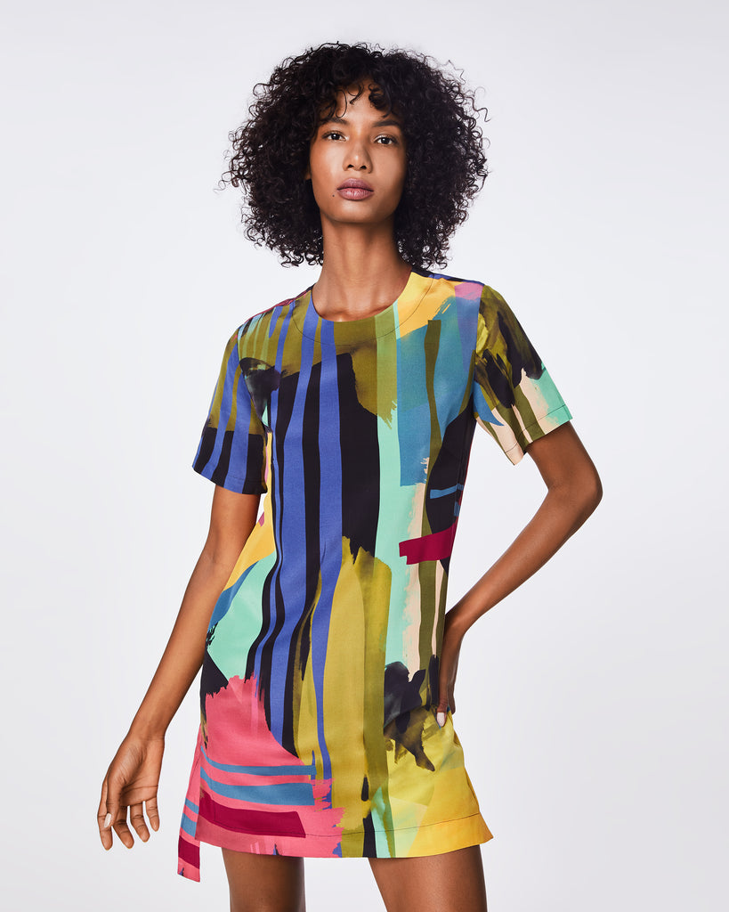 BO10161 - ABSTRACT PAINT SHIRT DRESS - dresses - short - The abstract paint print on this short-sleeve dress adds a touch of fun to a classic shirt dress style. Fully lined, this dress is a great go-to piece Alternate View