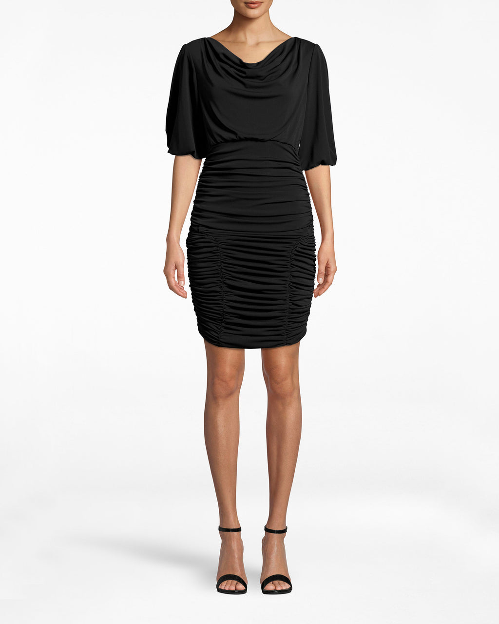 BO10169 - STRETCHY MATTE JERSEY RUCHED DRESS - dresses - short - The draping sleeves on this Stretchy Matte Jersey Dress are an elegant contrast to the ruched skirt. Pair with high heels and take on the evening. Exposed back zipper for closure.