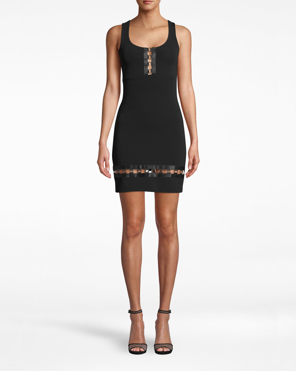 BO10173 - HEAVY JERSEY SQUARE RING SCOOP NECK DRESS - dresses - short - Ring round the jersey dress. This square neck style has daring ring detailing in the center bodice and along the hem. The v-neck back leads down into an exposed zipper. LINED.