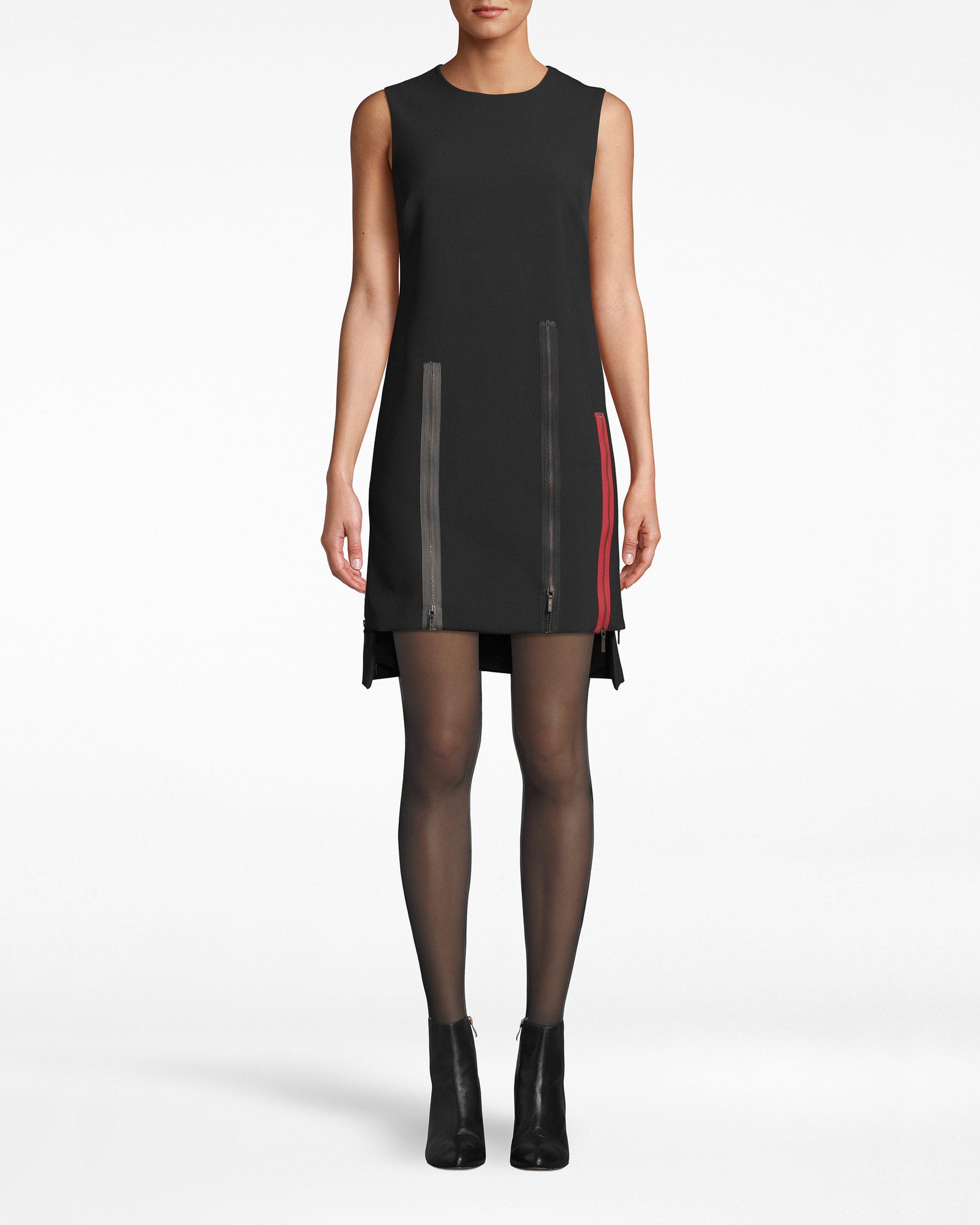 nicole miller exposed zippers shift dress in black | polyester/viscose/elastane | size petite