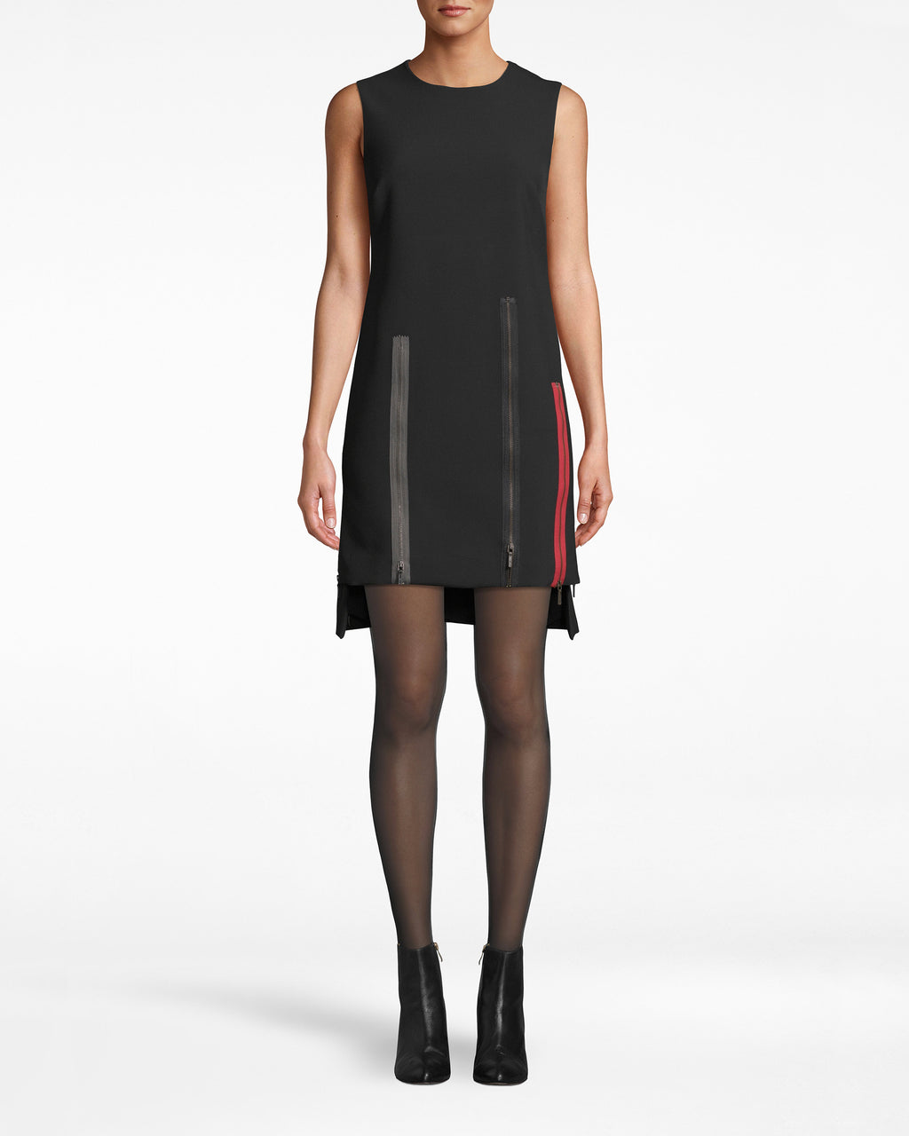 BO10174 - EXPOSED ZIPPERS SHIFT DRESS - dresses - short - Who says shift dresses have to be simple? We added exposed, multi-colored zippers to this sleeveless style. They cascade down and stop at the asymmetrical hem. Lined, exposed back zipper for closure.