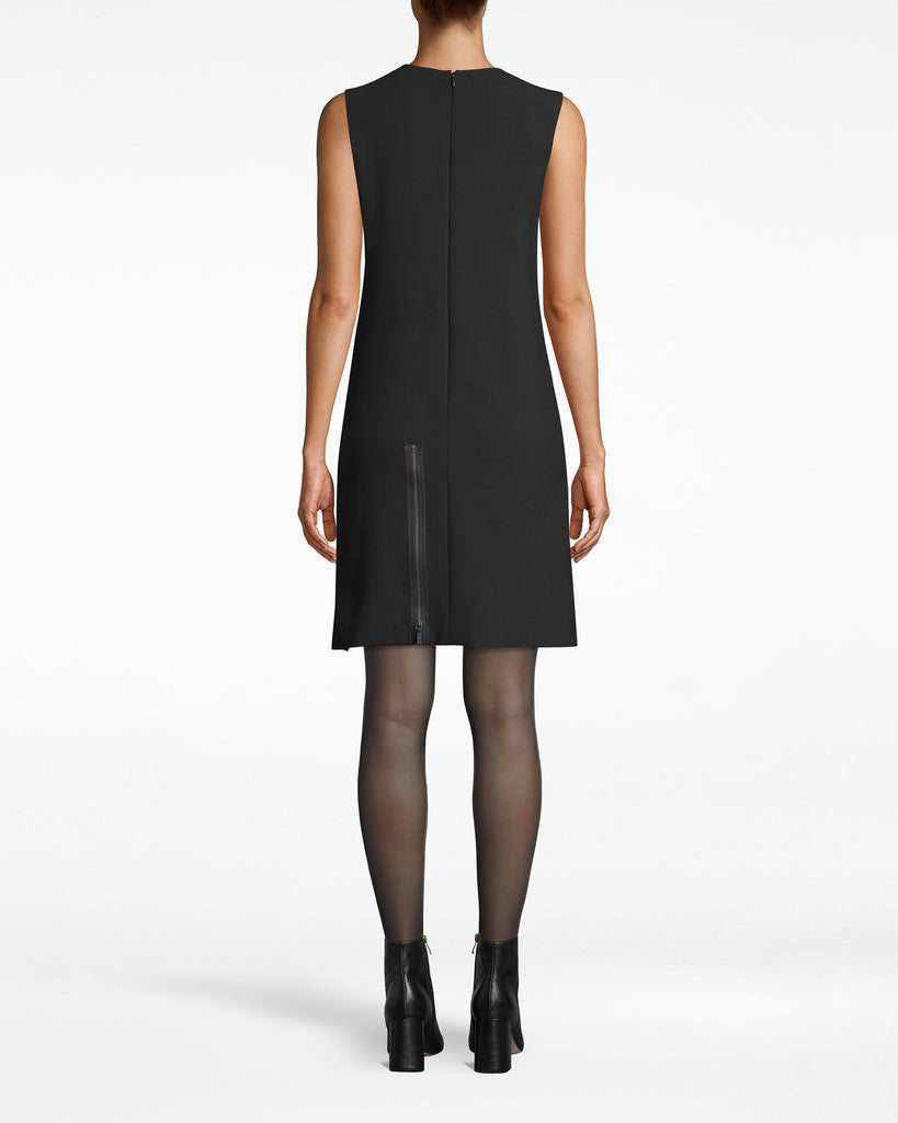 BO10174 - EXPOSED ZIPPERS SHIFT DRESS - dresses - short - Who says shift dresses have to be simple? We added exposed, multi-colored zippers to this sleeveless style. They cascade down and stop at the asymmetrical hem. Lined, exposed back zipper for closure. Alternate View