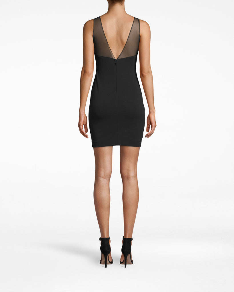 BO20087 - STRUCUTRED HEAVY JERSEY RUCHED V-BACK DRESS - dresses - short - Mesh overlaps the neckline of this sleeveless mini dress, while arching into v closures in the back. Pair back with strappy heels and a cute clutch. Alternate View