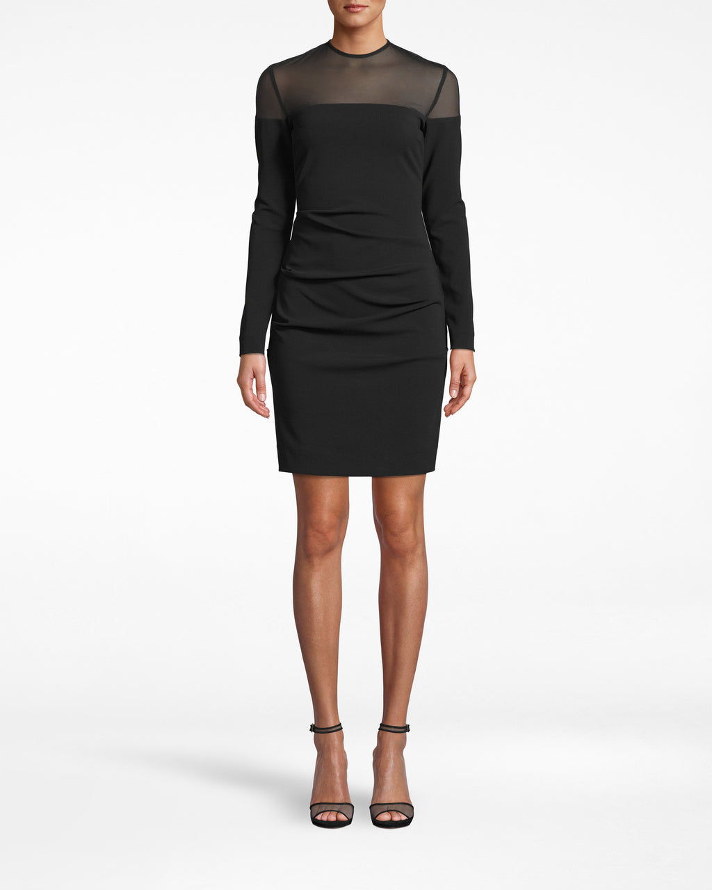 BO20095 - STRUCUTURED HEAVY JERSEY LONG SLEEVE DRESS - dresses - short - Textured gathering, a mesh neckline, and sleek long sleeves are just a few winning details to this heavy jersey style. Exposed back zipper runs to the neck.