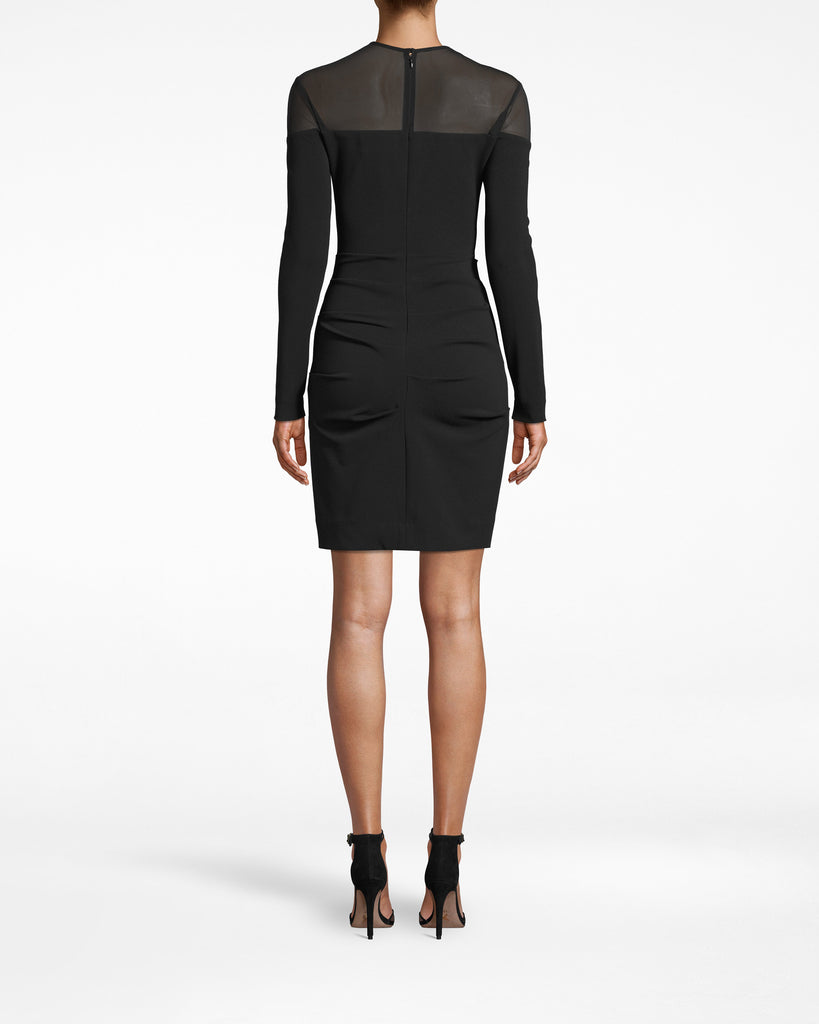 BO20095 - STRUCUTURED HEAVY JERSEY LONG SLEEVE DRESS - dresses - short - Textured gathering, a mesh neckline, and sleek long sleeves are just a few winning details to this heavy jersey style. Exposed back zipper runs to the neck. Alternate View