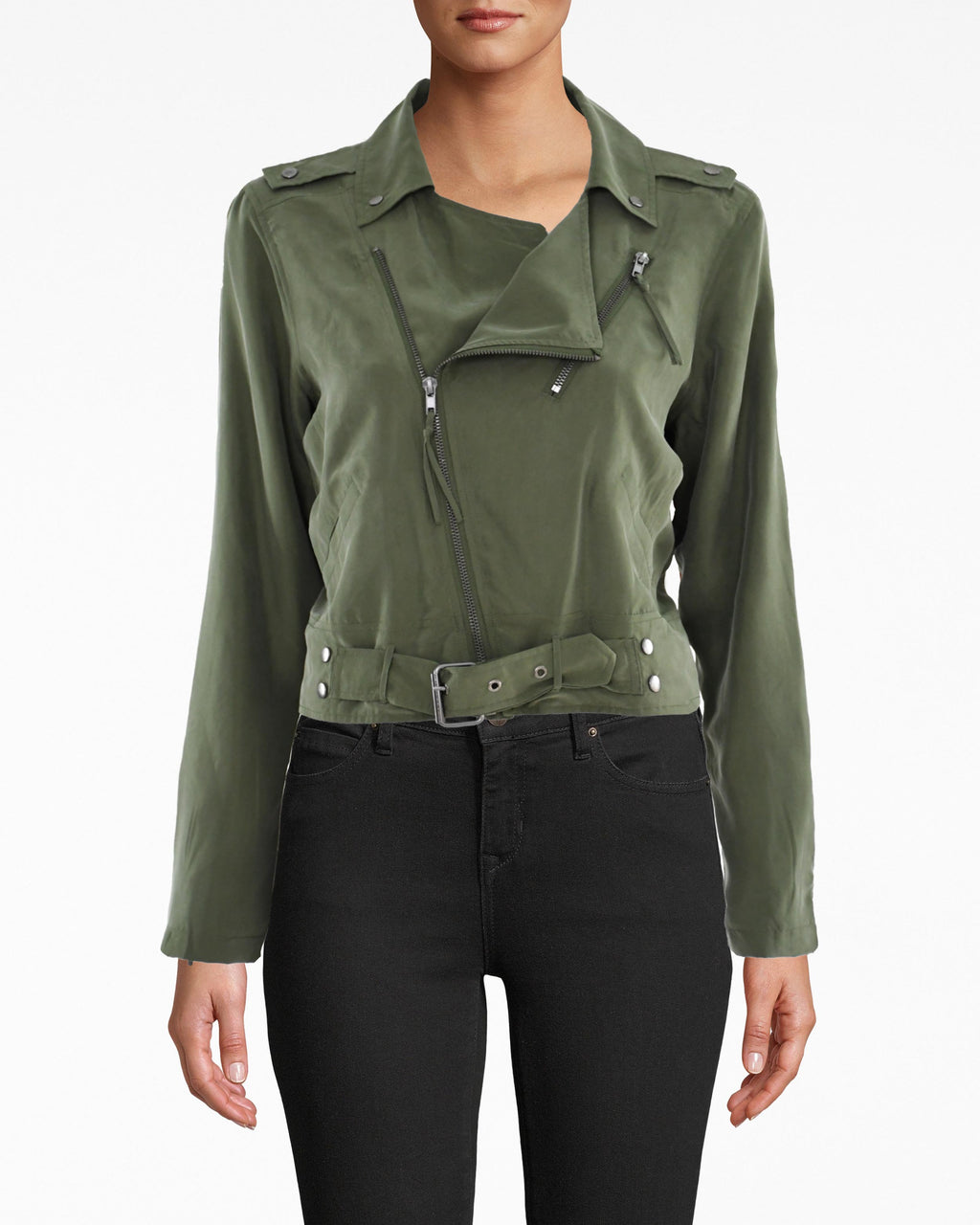 BP10009 - WASHED HABOTAI KALYSIE MOTO JACKET - outerwear - jackets - OUR BEST SELLING KALYSIE SILHOUETTE IS REMADE IN WASHED HABOTAI. THIS CLASSIC MOTO JACKET STYLE HAS TWO FRONT POCKETS WITH ZIPPER DETAILS AND A BELT. Add 1 line break STYLIST TIP: WEAR WITH THE MATCHING CARGO PANTS FOR A STATEMENT LOOK.