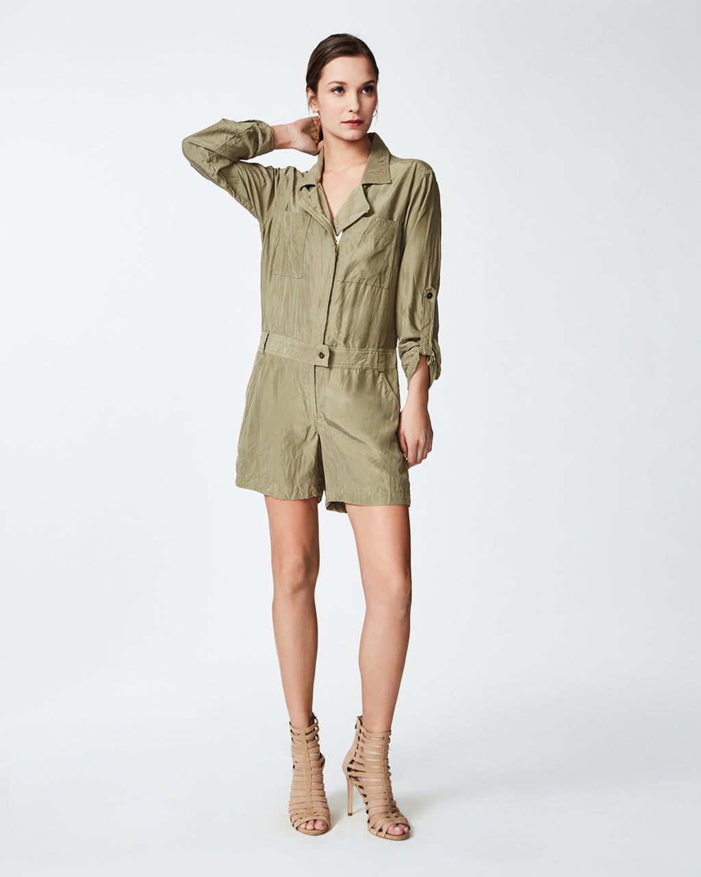 BP10234 - MOTO ROMPER - bottoms - pants - In a soft and lightweight silk, this romper features a front zipper for closure. Finished with a collar and two front pockets, this piece is perfect for day to night wear. Pair with open toe sandals for a simple yet trendy look. Unlined. Final Sale