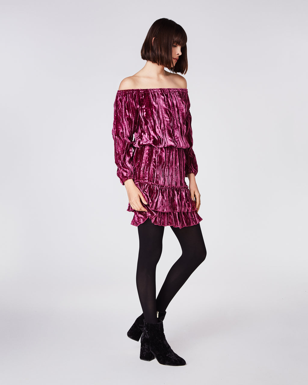 BP10240 - CRINKLED VELVET SMOCKED DRESS - dresses - short - In a soft velvet, this off the shoulder dress clinches at the waist and falls mid-thigh. Perfect for your holiday cocktail events Fully lined.