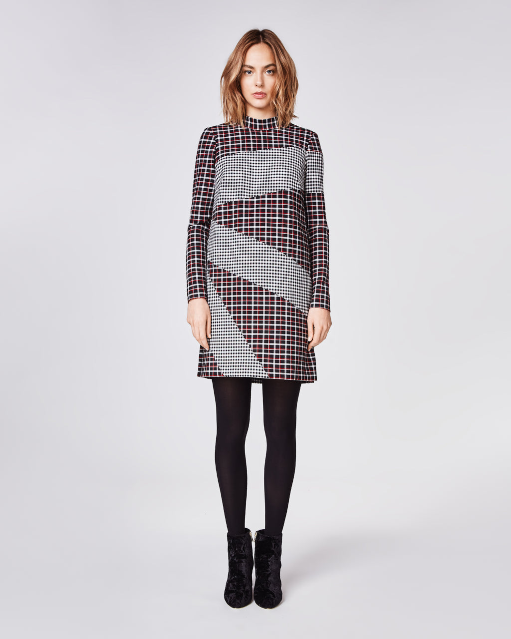 BP10241 - REVERSE PLAID MOCK NECK DRESS - dresses - short - The perfect dress to carry you through winter, this long sleeve dress is features a mock neck, long sleeve and concealed zipper for closure. Fully lined.