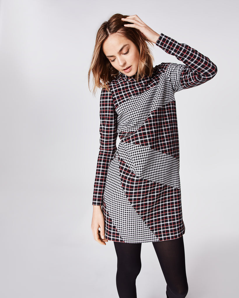 BP10241 - REVERSE PLAID MOCK NECK DRESS - dresses - short - The perfect dress to carry you through winter, this long sleeve dress is features a mock neck, long sleeve and concealed zipper for closure. Fully lined. Alternate View
