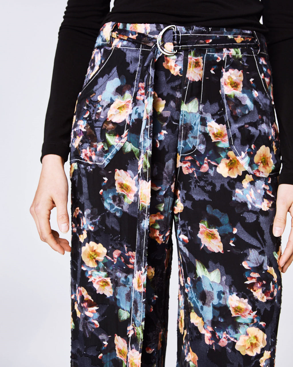 BP10245 - VINTAGE FLORAL BURNOUT PANT - bottoms - pants - With a belted, high waist fit these silk pants feature a wide leg perfect for a day to night look. Pair with heeled booties and a silk top. Finished with a front zipper for closure and fullylined.