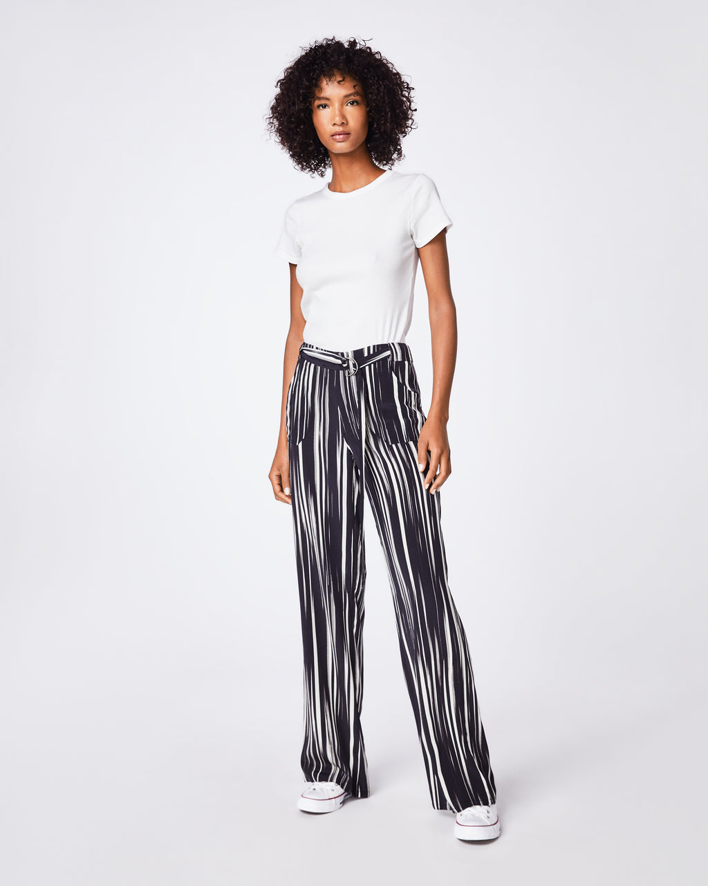 BP10251 - BARCODE TROUSER - bottoms - pants - These high-waist black and white silk pants are finished with a tie waist, are the perfect go to pant. They are effortlessly cool for on- or off-duty dressing.