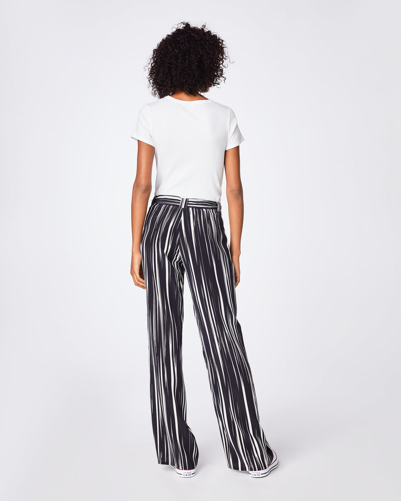 BP10251 - BARCODE TROUSER - bottoms - pants - These high-waist black and white silk pants are finished with a tie waist, are the perfect go to pant. They are effortlessly cool for on- or off-duty dressing. Alternate View