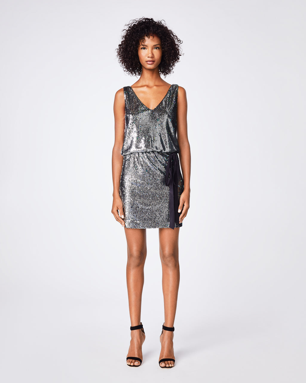 BP10252 - MERMAID SEQUIN V-NECK DRESS - dresses - short - Hello, party look. This sequin dress features an elastic waistband that perfectly displays a black drawstring bow. We recommend pairing it with a leather jacket and black boots. Final Sale