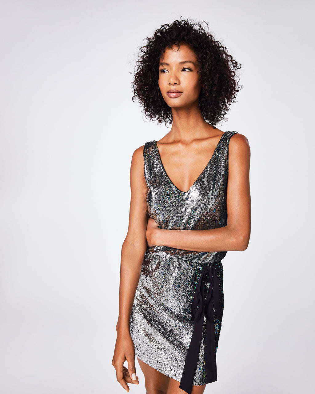 BP10252 - MERMAID SEQUIN V-NECK DRESS - dresses - short - Prep for the party with this sequin dress. This dress features an elastic waist with black drawstring bow. Pair it with a leather jacket and black boots.