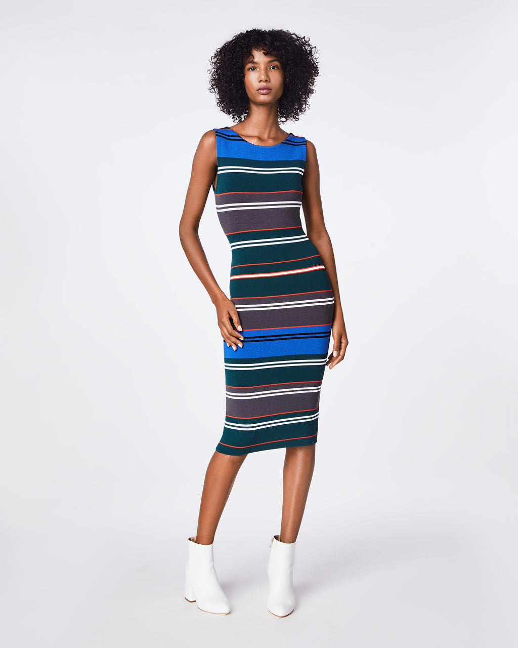 BP10255 - KNIT STRIPE BOAT NECK DRESS - dresses - midi - A curve-hugging dress has a shirred back seam and ruched edges. The boat neckline and fitted long sleeves complete the elegant standard. Unlined.