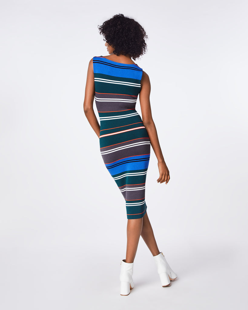 BP10255 - KNIT STRIPE BOAT NECK DRESS - dresses - midi - A curve-hugging dress has a shirred back seam and ruched edges. The boat neckline and fitted long sleeves complete the elegant standard. Unlined. Alternate View