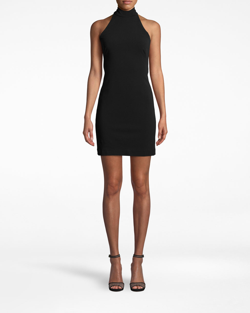 BP10268 - STRUCTURED HEAVY JERSEY MOCK NECK MINI DRESS - dresses - short - THIS DRESS IS PERFECT FOR A NIGHT OUT ON THE TOWN,FEATURING A HIGH NECK WITH A COMPLETELY OPEN BACK. MADE FROM HEAVY JERSEY MATERIAL AND FULLY lined, THIS IS YOUR NEW GO TO LBD.