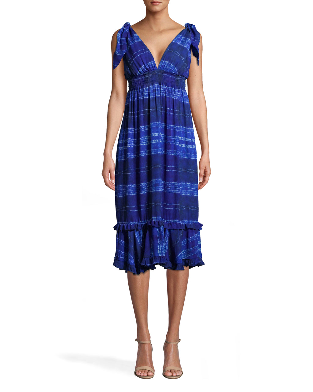 BP10274 - SHIBORI STRIPE DRESS WITH TIE SHOULDER - dresses - midi - OUR SHIBORI STRIPE MIDI DRESS HAS A SLIGHT PLUNGE NECKLINE WITH TIE STRAPS. THERE IS FLATTERING SMOCKING AROUND THE RIBS AND A TEXTURED HEMLINE. Add 1 line break STYLIST TIP: WEAR THIS VERSATILE STYLE OVER A BATHING SUIT AS A COVERUP OR WITH HEELS FOR A NIGHT OUT.