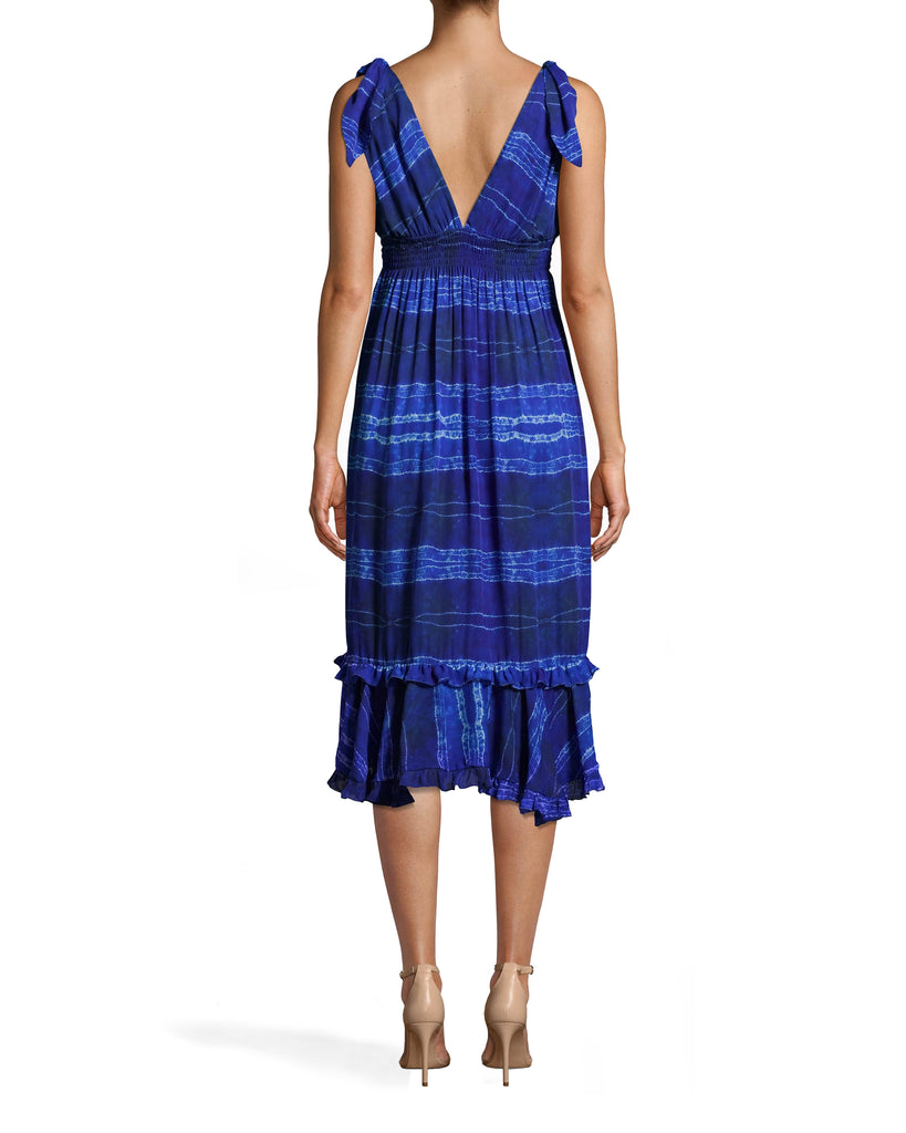 BP10274 - SHIBORI STRIPE DRESS WITH TIE SHOULDER - dresses - midi - OUR SHIBORI STRIPE MIDI DRESS HAS A SLIGHT PLUNGE NECKLINE WITH TIE STRAPS. THERE IS FLATTERING SMOCKING AROUND THE RIBS AND A TEXTURED HEMLINE. Add 1 line break STYLIST TIP: WEAR THIS VERSATILE STYLE OVER A BATHING SUIT AS A COVERUP OR WITH HEELS FOR A NIGHT OUT. Alternate View