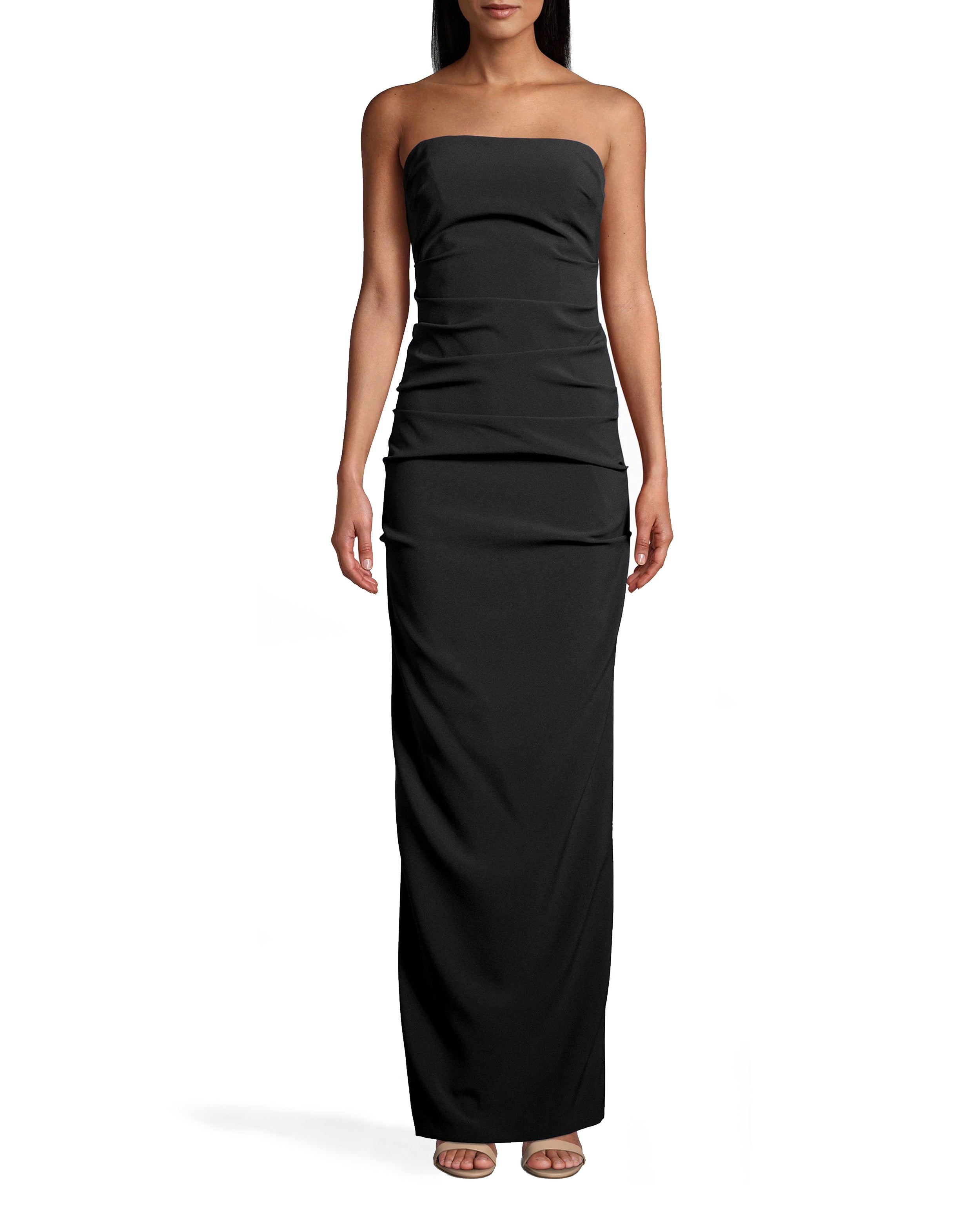 nicole miller new stretch crepe tuck strapless gown in navy blue   polyester/spandex/viscose   size 0