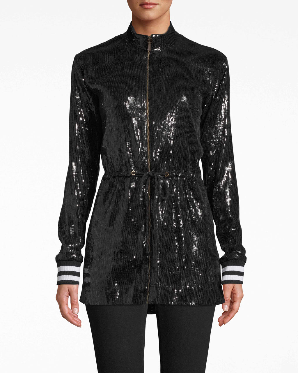 BP20036 - DRAWSTRING JACKET - outerwear - jackets - Cinched at the wrist with a subtle drawstring, this luminous jacket is a bold option for bracing colder temps. The sequins are laid all over the body, up until the black and white-striped rib cuffs. Pair with simple bottoms.