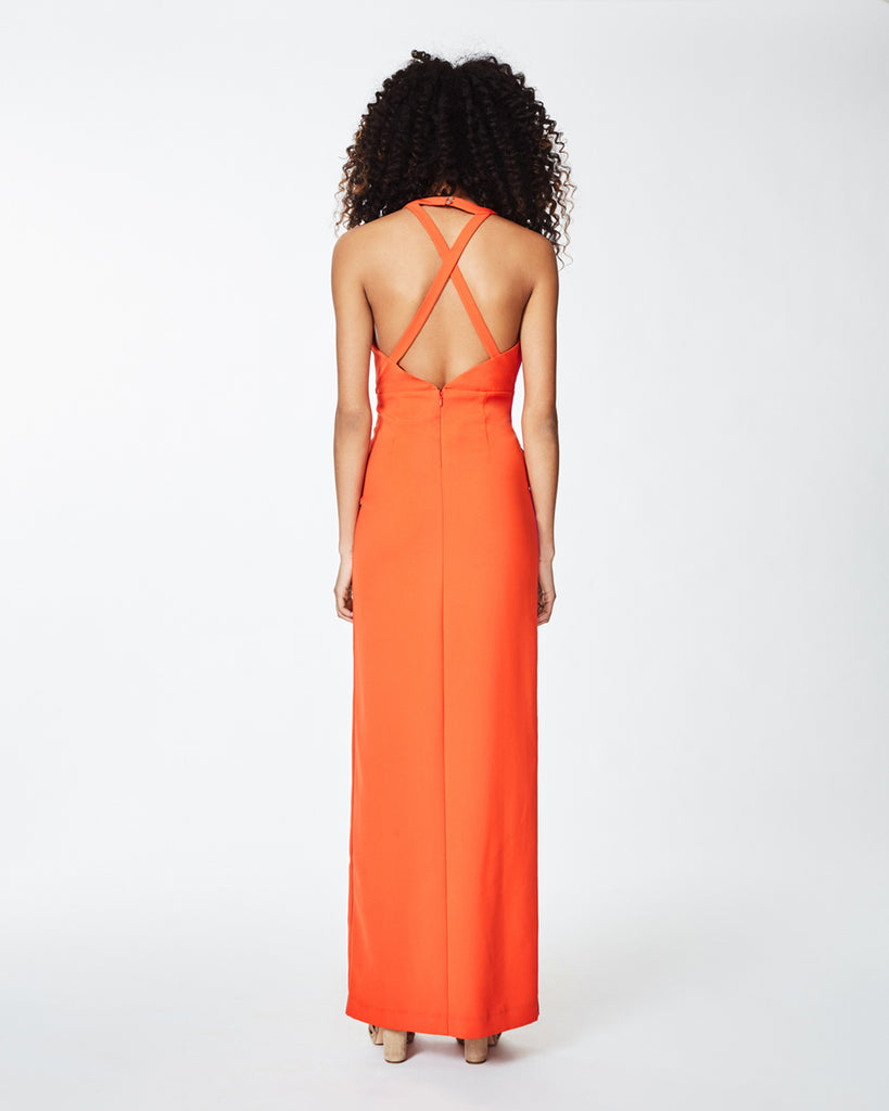 BQ10262 - X-BACK RUFFLE GOWN - dresses - long - Contrasting orange and pink bring a bright and vibrant vibe to this luxe gown. An open, strappy back add a trendy and femme touch to this gown. Finished with a ruffle accent and concealed zipper. Fully lined. FINAL SALE Alternate View