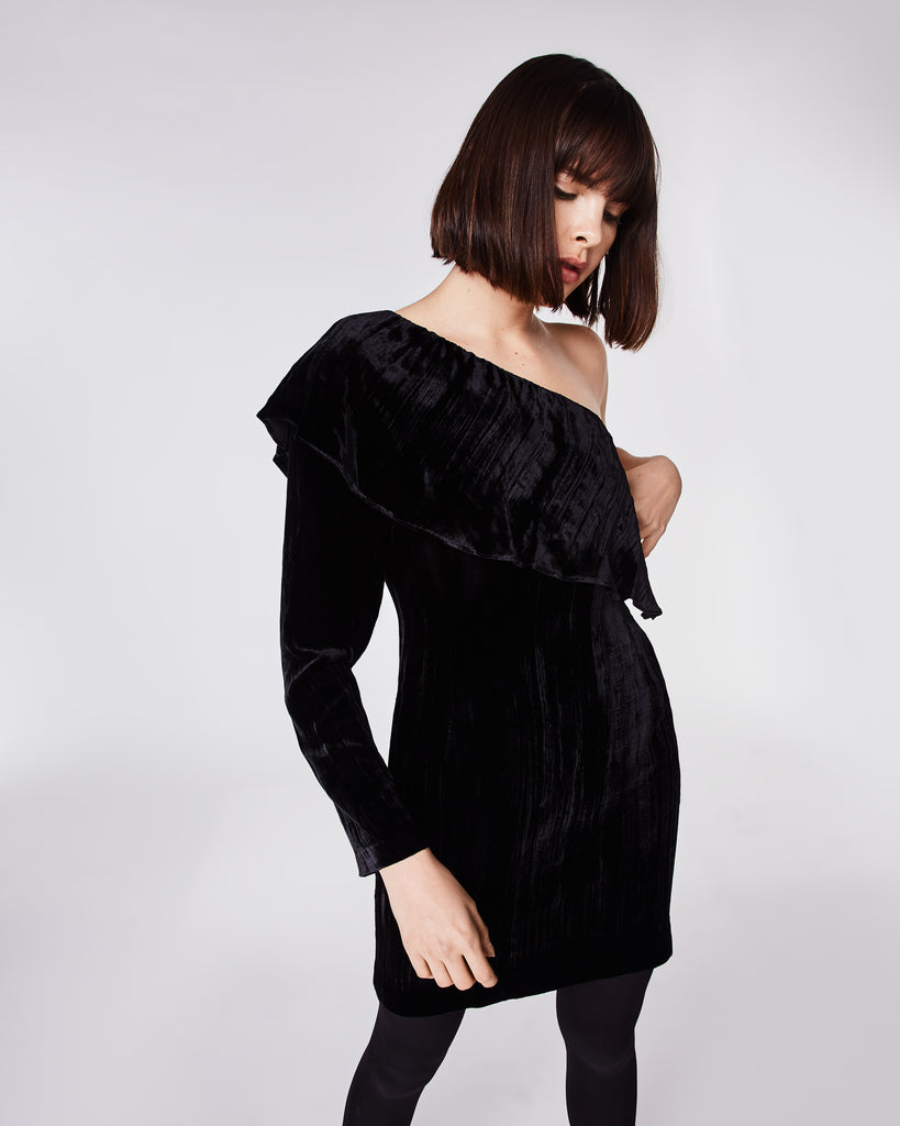 BQ10303 - CRINKLED VELVET ONE SHOULDER DRESS - dresses - short - In a soft, crinkled velvet this one shoulder dressclinches at the waist and falls above the knee. Finished with a concealed zipper for closure and fully lined. Alternate View