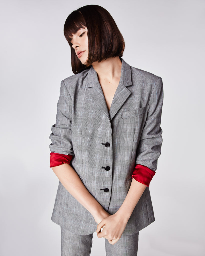 BQ10310 - GLEN PLAID BOYFRIEND JACKET - outerwear - coats - In an oversized boyfriend fit, this tripe-breastedblazer has a contrasting red lining and subtle shoulder pads. Fully lined. Alternate View