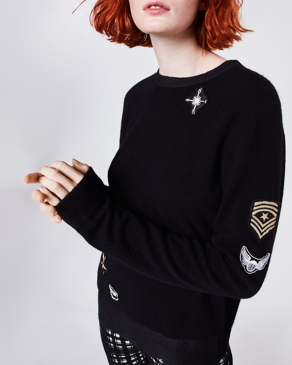 BQ10313 - FOILED CASHMERE ASYMMETRICAL SWEATER - tops - knitwear - With an asymmetical hemline, foiled triming and patches throughout, this sweater is anything but boring.