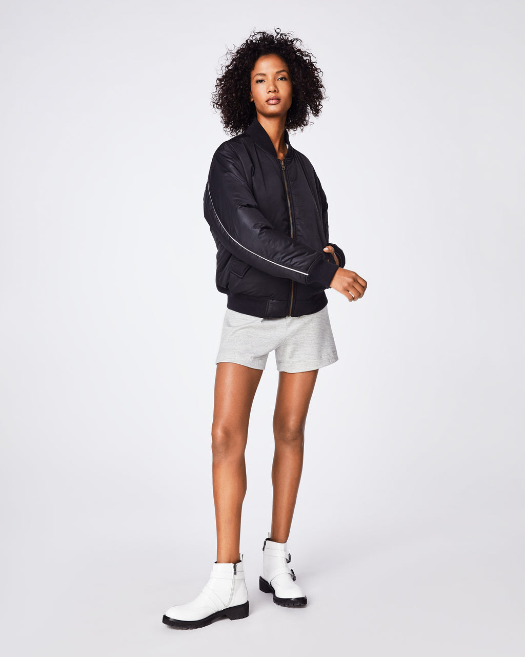 BQ10317 - REVERSIBLE BOMBER - outerwear - coats - THIS BOMBER IMITATES A CLASSIC VINTAGE ATHLETIC JACKET WITH PIPING DETAIL AND RIBBED TRIM. EVEN BETTER, IT'S REVERSIBLE: EXPERIMENT WITH BLACK AND A VIVACIOUS POP OF COLOR. Final Sale