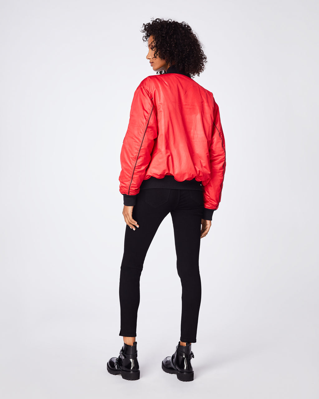 BQ10317 - REVERSIBLE BOMBER - outerwear - coats - This bomber has the classic fit and ribbed trim of a vintage athletic jacket with pipping detail. Keep your closet versatile due to the fact it's reversible - black and a pop of color is the perfect combo.