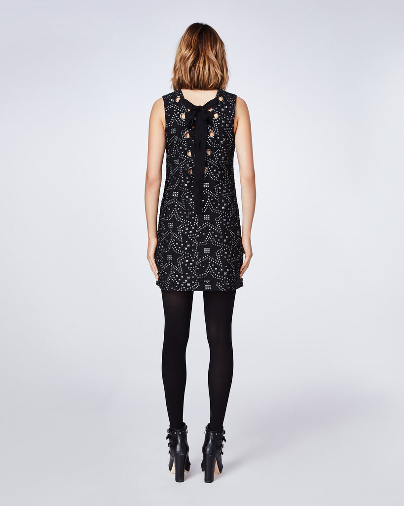 BQ10326 - STAR JACQUARD JUNE LACE UP BACK DRESS - dresses - short - In a black star jacquard fabric, this dress features a lace up bow back. Final Sale Alternate View